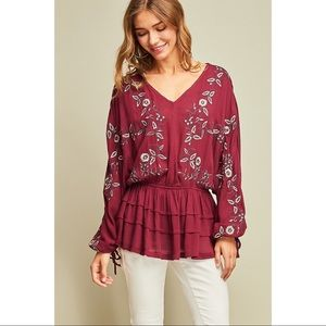 Peasant Top with Floral Embroidery - Merlot